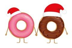 Rosa- und choco Weihnachtsdonutkarikaturen mit Sankt-Kappe vektor abbildung