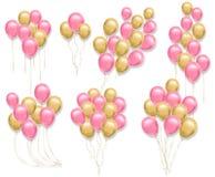 Rosa und gelbe Ballone stellten Vektor realistisch ein Sammlung der Illustration 3d für Geburtstag, Geschenk, Karten, Einladung vektor abbildung