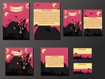 Rosa und gelbe Broschüren und Visitenkarten mit Halloween ziehen sich zurück stock abbildung