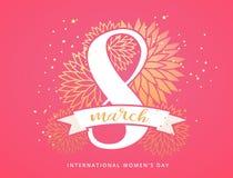 Rosa und Goldblumenverzierungshintergrund für Tag, internationalen Frauen der den 8. März Tages-, Geburtstags-, Valentinsgruß-Tag stockbild
