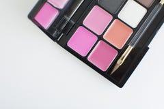 Rosa und pfirsichfarbene Lippenpalette lizenzfreies stockbild