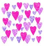 Rosa und purpurrote Herzen auf weißem Hintergrund lizenzfreie stockfotos