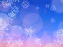 Rosa und purpurroter abstrakter Unschärfe-Hintergrund mit Schneeflocken, freier Raum für Text lizenzfreie stockfotos