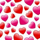 Rosa und rote Herz-nahtloses Muster Lizenzfreies Stockfoto