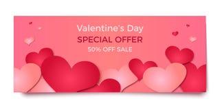 Rosa und rote Herzen auf rosa Hintergrund, Vektorillustration Lizenzfreie Stockfotografie