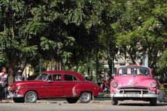 Rosa und rote klassische alte amerikanische Autos Lizenzfreie Stockfotos
