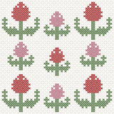 Rosa und rote Tulpen, Nachahmung des Kreuzstichs Lizenzfreie Abbildung