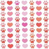 Rosa und roter Pfotenabdruck mit Herzmuster Glücklicher Valentinsgruß `s Tag lizenzfreie abbildung
