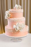 Rosa und weiße Hochzeitstorte Lizenzfreies Stockbild