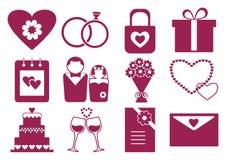 Rosa- und weißerheiratssatz, Vektor lizenzfreie abbildung