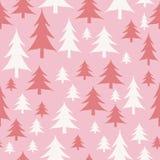 Rosa- und weißesder Weihnachtsbäume nahtloses Muster lizenzfreie abbildung