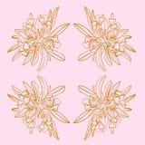 Rosa-und Wiederholungs-Muster-Druck-mit Blumenvektor Goldfranzösischer Toile nahtloser vektor abbildung