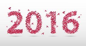 Rosa uno stile di 2016 origami del nuovo anno Incarti gli uccelli Illustrazione di vettore Fotografie Stock