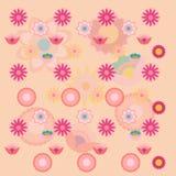 Rosa unterschiedliche Blumenhintergrundmit blumentapete Lizenzfreie Stockfotos