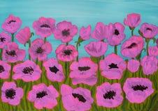 Rosa vallmo som målar Arkivfoto
