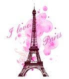 Rosa vattenfärgfläckar och Eiffeltorn