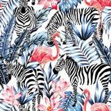 Rosa vattenfärgflamingo, sebra och tropisk sömlös bakgrund för blåa palmblad vektor illustrationer