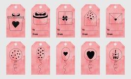 Rosa vattenfärghälsningetiketter med gullig hand drog beståndsdelar för Royaltyfria Bilder