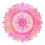 Rosa vattenfärgmandala, indiskt motiv Utsmyckad rund prydnad stock illustrationer