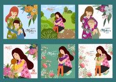 Rosa vektorabbildung Glücklicher Muttertag Vektor stellte Schablonen mit Mutter und Kind ein stock abbildung