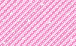 Rosa vektorbakgrund med band och prickar Gullig rosa bakgrund för för garnering parti flickaktigt Arkivfoton