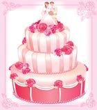 rosa vektorbröllop för cake Arkivbild
