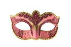 Rosa Venetian karnevalmaskering som isoleras på vit bakgrund Arkivbild