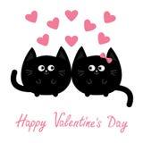 Rosa vermelha Ícone do gato preto de forma redonda Pares da família do amor Personagem de banda desenhada bonito do coração cor-d Fotos de Stock