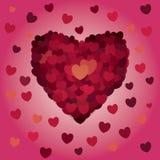 Rosa vermelha Corações abstratos Amor ilustração stock