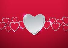 Rosa vermelha Corações cortados do papel Imagens de Stock