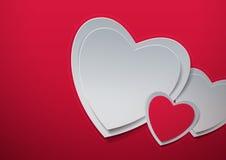 Rosa vermelha Corações cortados do papel Fotos de Stock