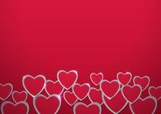 Rosa vermelha Corações cortados do papel Foto de Stock Royalty Free