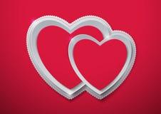 Rosa vermelha Corações cortados do papel Foto de Stock