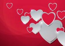 Rosa vermelha Corações cortados do papel Imagens de Stock Royalty Free