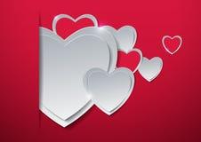 Rosa vermelha Corações cortados do papel Fotografia de Stock Royalty Free