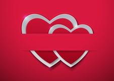 Rosa vermelha Corações de papel no fundo cor-de-rosa Fotografia de Stock