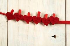 Rosa vermelha Dois corações Imagens de Stock