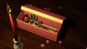 Rosa vermelha na caixa de presente com as pétalas da vela e da flor ilustração royalty free