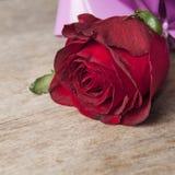 Rosa vermelha na prancha de madeira velha Foto de Stock