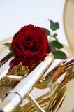 Rosa vermelha na tuba ou no Euphonium fotografia de stock royalty free