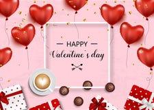 Rosa vermelha Vector o fundo com corações, caixas de presente, confetes, curva e fita, café e chocolate Foto de Stock Royalty Free