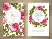 Rosa vertikala baner royaltyfri illustrationer