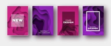 Rosa Violet Paper Cut Wave Shapes Überlagerter Kurve Origami entwirft für Geschäftsdarstellungen, Flieger, Poster Satz von 4 Stockfotos