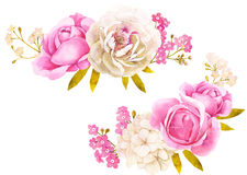 Rosa vit vattenfärgblommabukett för att gifta sig garnering stock illustrationer