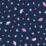Rosa vita blommor på sömlös vektor för blå bakgrund upprepar blom- modellbakgrund stock illustrationer