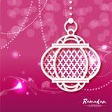 Rosa vitt kort för Ramadan Kareem berömhälsning med origamiarabiskalampan stock illustrationer