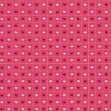 Rosa von Hand gezeichnetes nahtloses Muster von Herzen Stockfotos