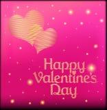 Rosa vykort på valentin dag med hjärtan av guldfärg Royaltyfria Foton