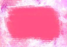 Rosa WasserFarbgrafik-Farbbürste streicht Flecken Stockbilder