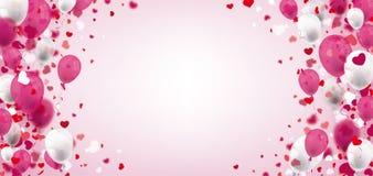 Rosa Weiß steigt Herz-hellen Mitte-Titel im Ballon auf vektor abbildung